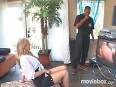 Julia Ann's lucky day! The cable guy is black!