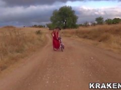 Krakenhot - Voyeur video with a provocative girl outdoor