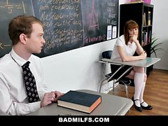 BadMILFS - Pissed Off Nun Squirts And Fucks Her Students