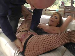 Horny Dominica Phoenix in fishnet pantyhose