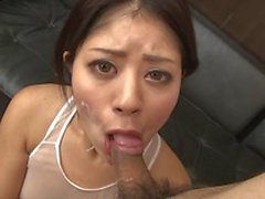Nasty asian slut likes to be in bukkake party for the huge load of cum