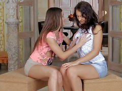 Tiny titted brunettes Olympia and Zaya