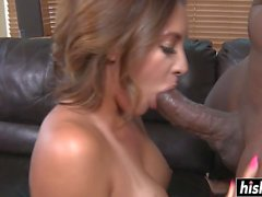 Black cock barely fits in her
