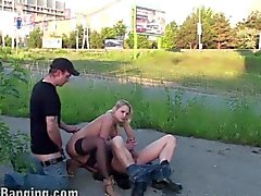 Street Public Sex Orgy with a Beautiful Blonde Girl