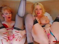 Two big boob mature lesbian ladies play together