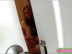 Horny GF Brianna Oshea caught masturbating in the toilet