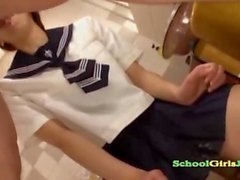schoolgirl giving blowjob getting her mouth fucked in the bathroo