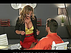 SEXY bigboob brunette hair mother I'd like to fuck lawyer Nikki Sexx bonks inmate client