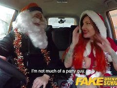 Fake Driving School Sexy horny squirting festive anal Christmas fuck