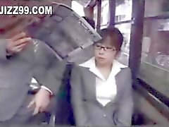 office lady seduced blowjob by geek on bus