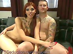 Guy in tats drills red haired tranny