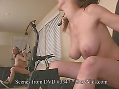 3 babes spread pussy & ass, secretary, workout & sybian