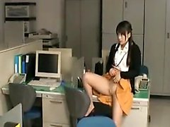 Pretty Asian secretary in pantyhose seduces a guy to please