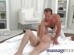Massage Rooms Shy girl enjoys cream pie
