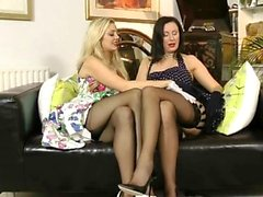 Lesbian UK mature orally pleases busty blonde
