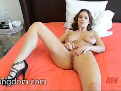 Cali Marie slips out of lingerie to play with a toy