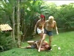 Trampling and Strangling by 2 hot babes