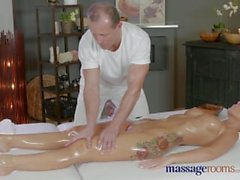 Massage Rooms Horny Milf wanks sucks and fucks hard dick like a pro