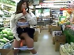 Subtitled Japanese public nudity in store with carrots