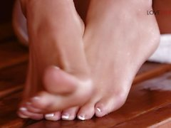 Loveherfeet - Super hot blonde has sneaky foot sex behind stranger's GF