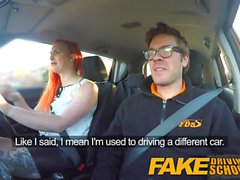 Fake Driving School Tattooed redhead craves instructors big