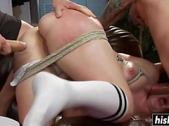 Double dick sucking with Claire Robbins