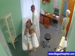 Sexy brunette patient at doctors fingered