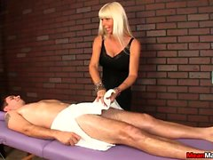 Blonde Masseuse Agrees To Cock Massage On Her Terms