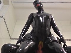 Rubberpussy fucked in bathroom