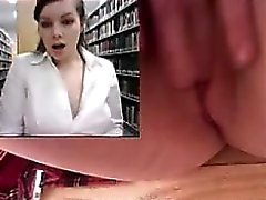 Girl masturbates and squirts in library