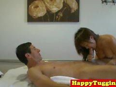 Oiled busty masseuse fucks client