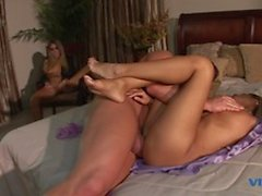 Big dicked dude pleasures both the perfect pussies on these stunning girls