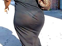 Candid see through black dress ebony booty of NYC