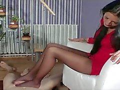 Brunette footjob in pantyhose