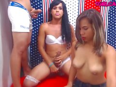 Threesome two shemales and guy blowjobs Cam