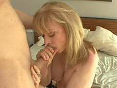 MILF slag loves to suck big cock before getting on top to ride it hard