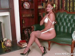 Posh babe Honour May strip teases down to her vintage nylons high heels garters and masturbates