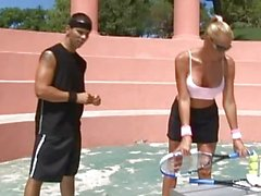 Amazing busty blonde tenis player teasing the trainer and gets him horny