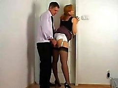 Rubbing against secretary satin panties
