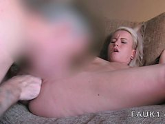Nice ass busty British amateur blonde in casting