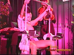Luscious domina has fun with a blonde hussy and performs a s