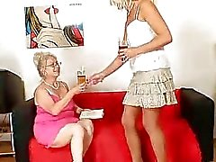 Wellendowed grandma penetrates a milf