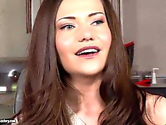 Pretty brunette Subil Arch gets interviewed