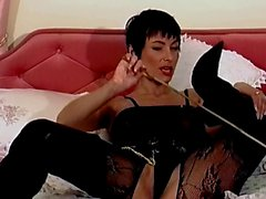British slut Vida plays with herself in a body stocking
