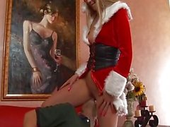 Naughty Christmas girl pussy pounded