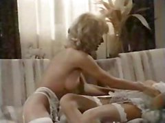 Vintage mature lesbian teaches young brunette classic pussy licking action