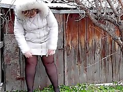 Russian plump girl pees