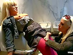 Lea Lexis Tied up and ass fucked in a public bathroom