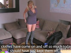 Busty blonde Milf banged on casting