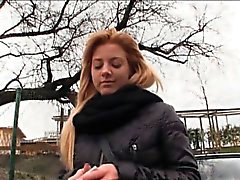 Pretty blonde European slut Cherie mouth cum for money